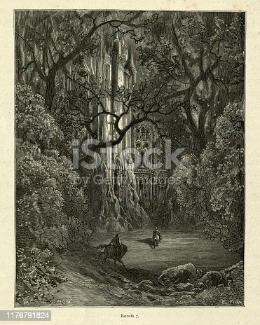 Vintage illustration from the story Orlando Furioso. Riding through dark forest to the enchanted castle. Orlando Furioso (The Frenzy of Orlando) an Italian epic poem by Ludovico Ariosto, illustrated by Gustave Dore. The story is also a chivalric romance which stemmed from a tradition beginning in the late Middle Ages.