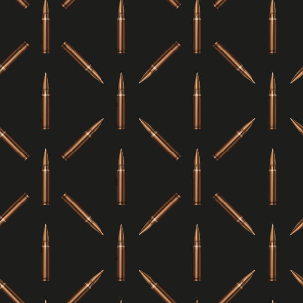 Rifle Bullets pattern background Rifle Bullets seamless pattern background. Military Illustration. lead poisoning stock illustrations
