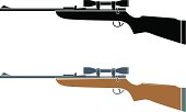 """""""2 versions of a rifle, one silhouette, one with a small amount of extra detail."""""""