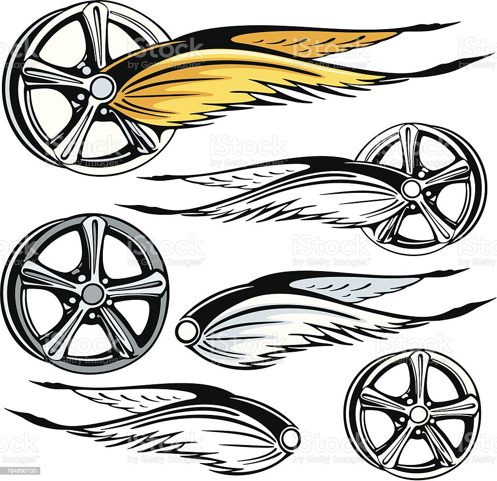 Rim With Fierly Wings. (Vector) royalty-free stock vector art