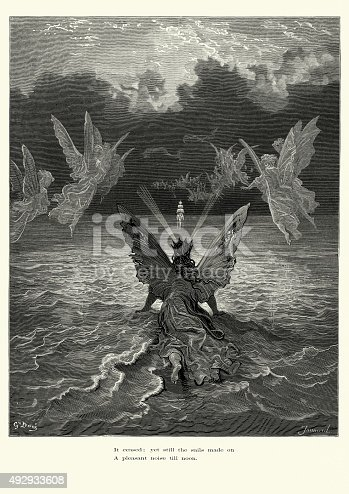 Vintage engraving by Gustave Dore of a scene from the Rime of the Ancient Mariner, It ceased; yet still the sails made on, a pleasant noise till noon. The Rime of the Ancient Mariner is the longest major poem by the English poet Samuel Taylor Coleridge. It relates the experiences of a sailor who has returned from a long sea voyage. The mariner stops a man who is on the way to a wedding ceremony and begins to narrate a story. 1882