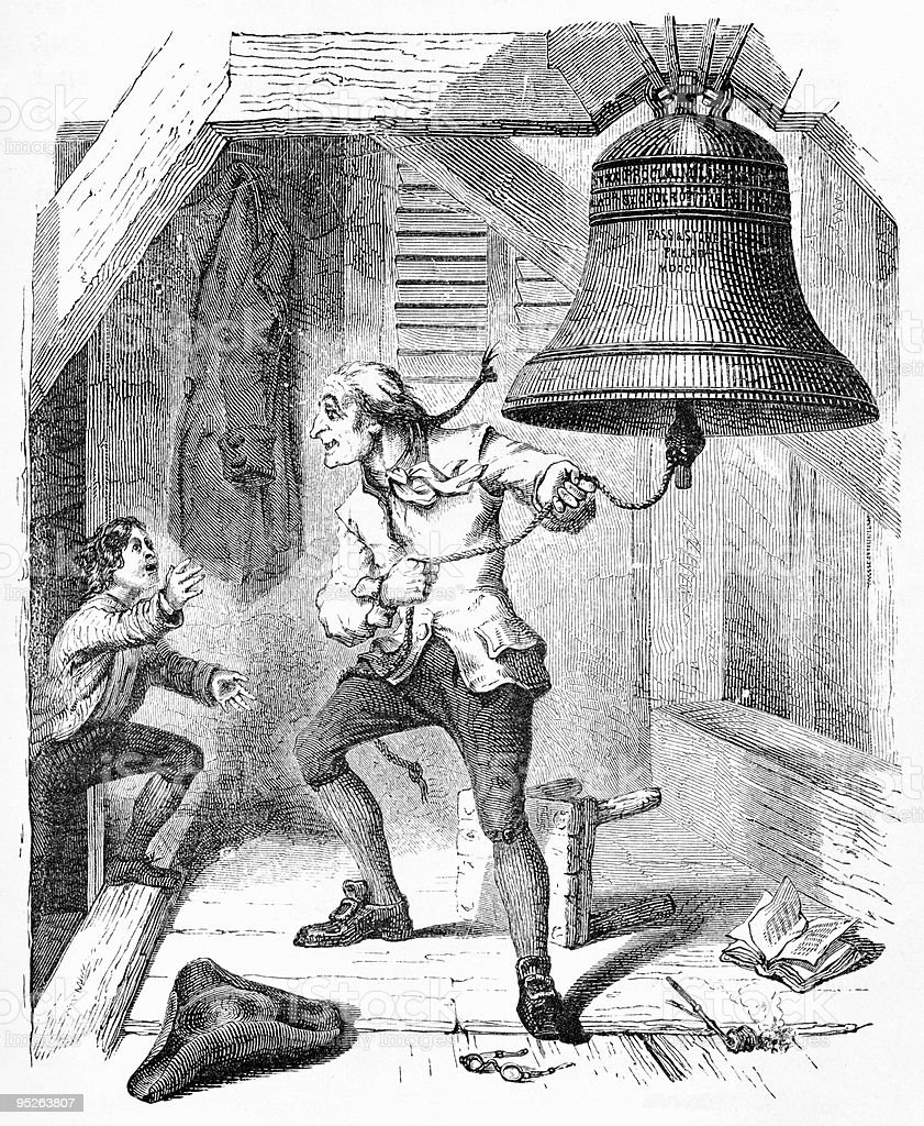 Ringing the Liberty Bell, 1776 vector art illustration