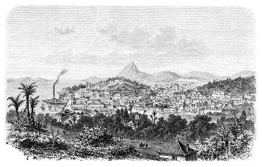 Rio de Janeiro Brazil with Sugarloaf Mountain and Botafogo Bay 1876