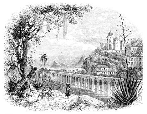 Rio de Janeiro Carioca Aqueduct and church of our lady of the glory of the outeiro 1854