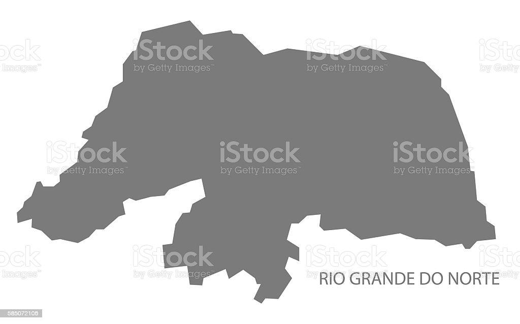 Rio Grande do Norte Brazil Map grey vector art illustration