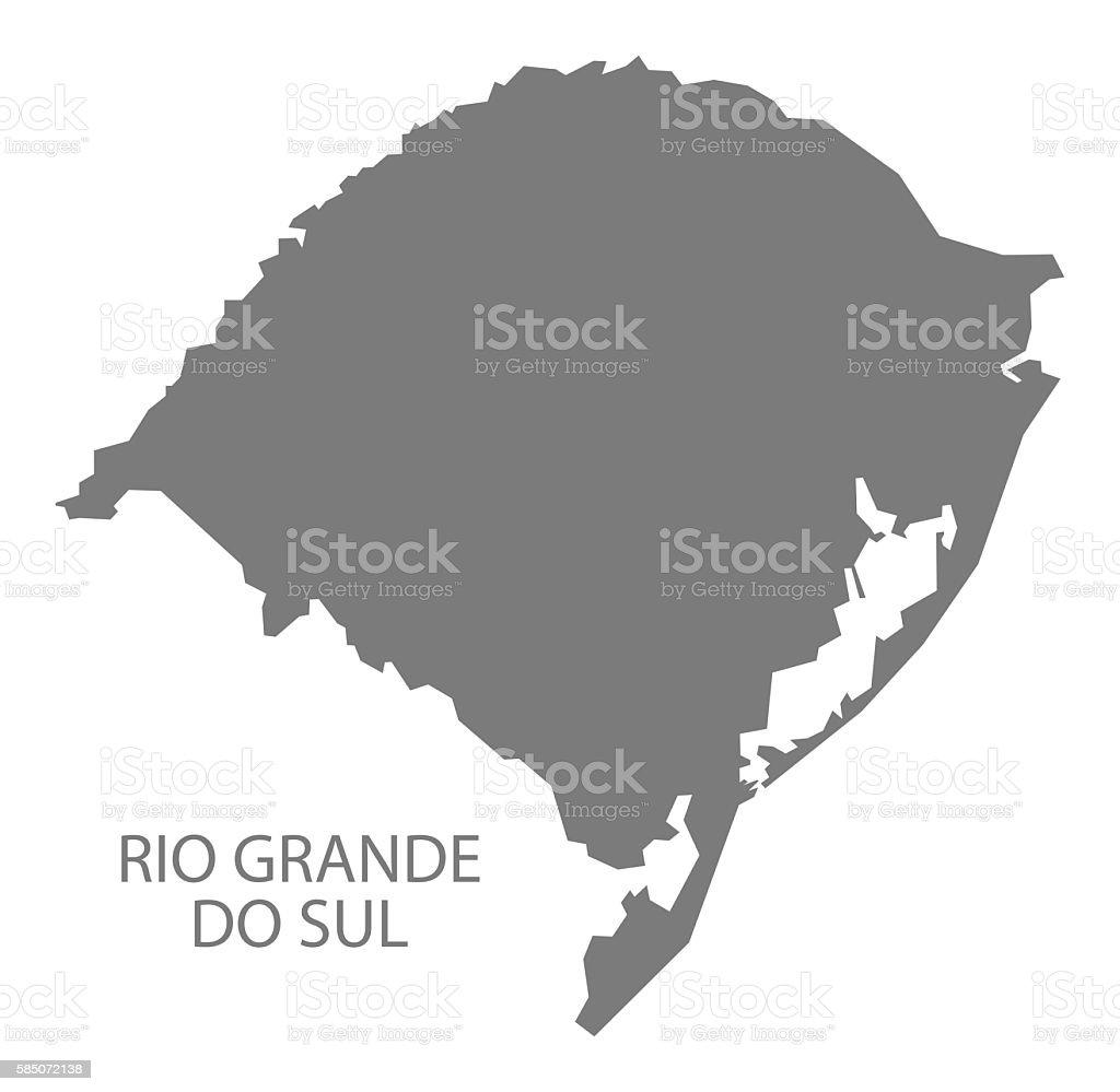 Rio Grande do sul Brazil Map grey vector art illustration
