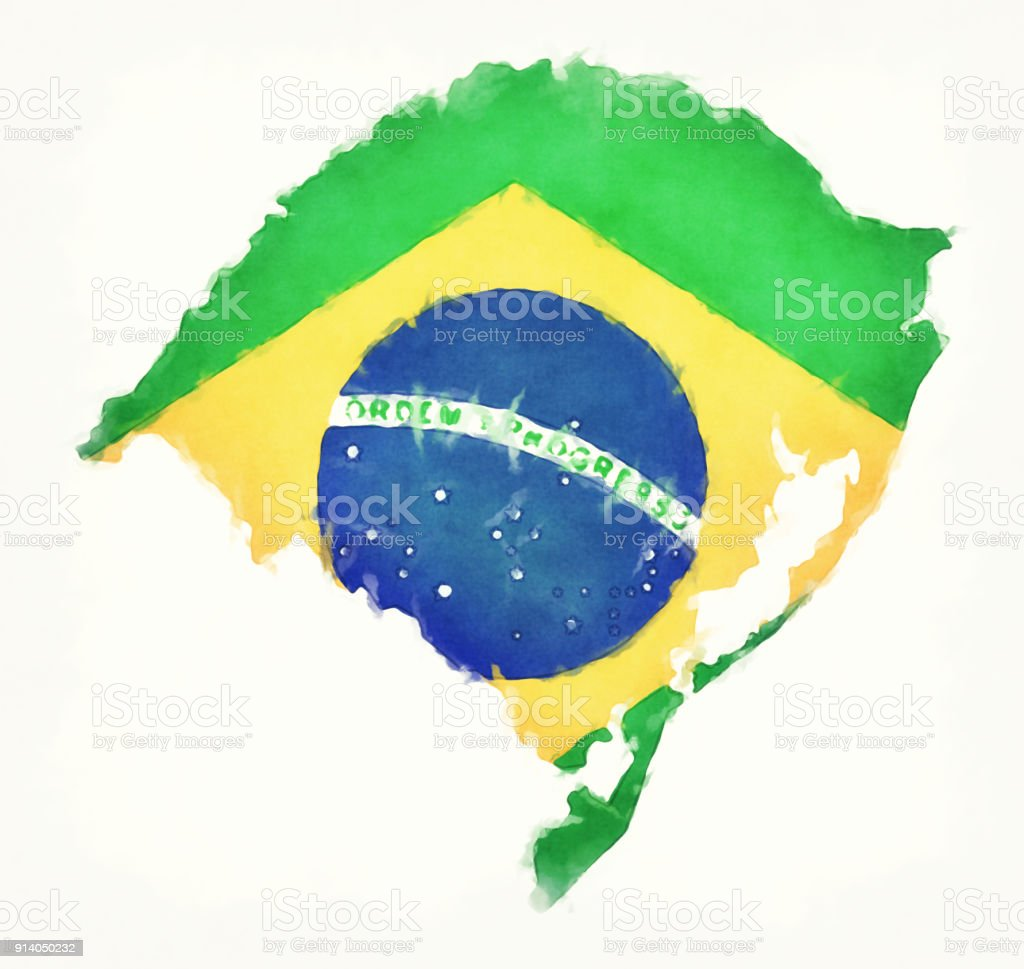 Rio Grande do Sul watercolor map with Brazilian national flag in front of a white background vector art illustration
