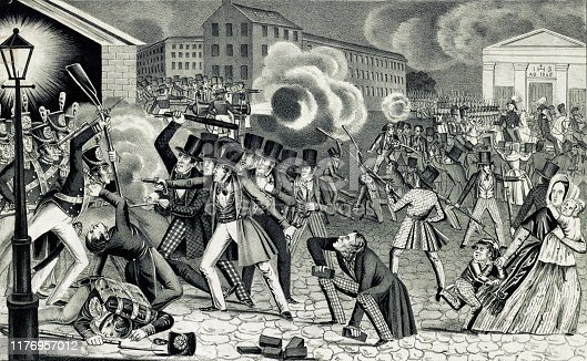 Vintage illustration features rioting in Philadelphia on July 7, 1844 over tensions due to the Roman Catholic bishop persuading school officials to use both the King James and Latin Vulgate bibles.
