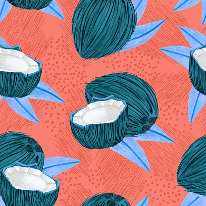 Ripe watercolor coconut seamless pattern. Whole coco and a half with palm leaves on green background
