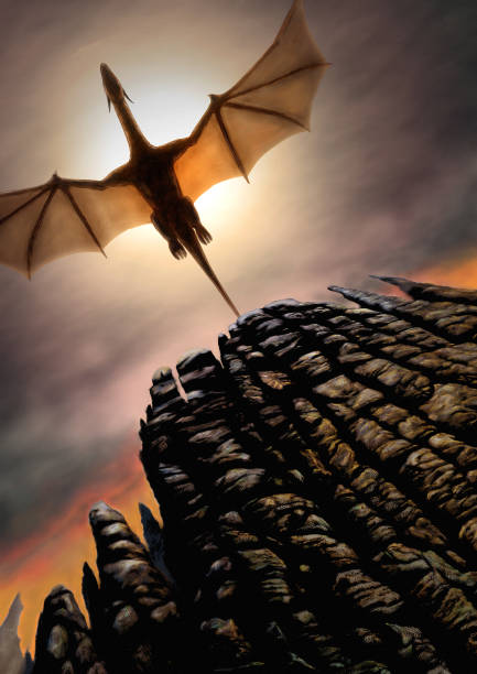 Rise Of The Black Dragon Digital painting of a flying dragon. Worm's eye view. rock formations stock illustrations