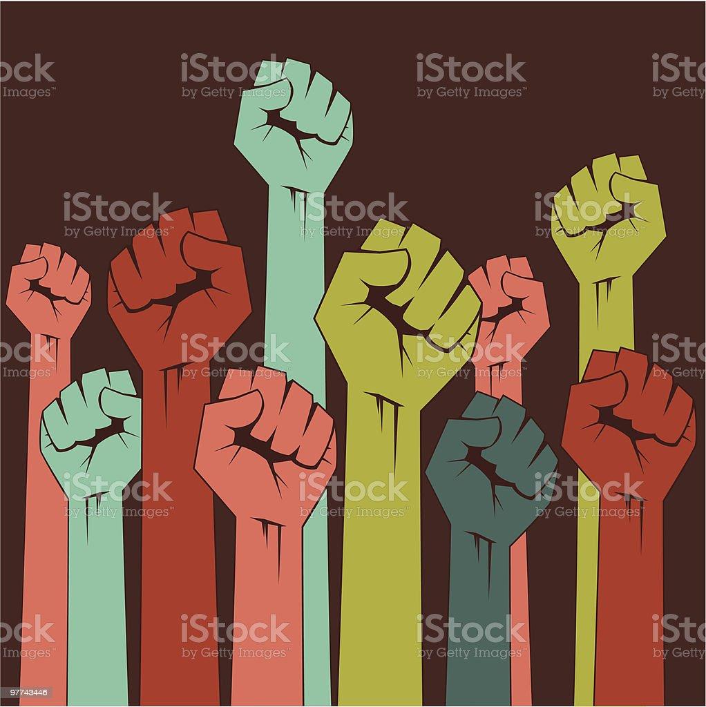 Rising fists (clean) vector art illustration