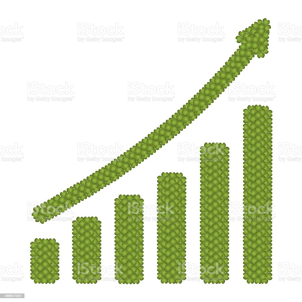 Rising Graph Made of Four Leaf Clove royalty-free rising graph made of four leaf clove stock vector art & more images of achievement