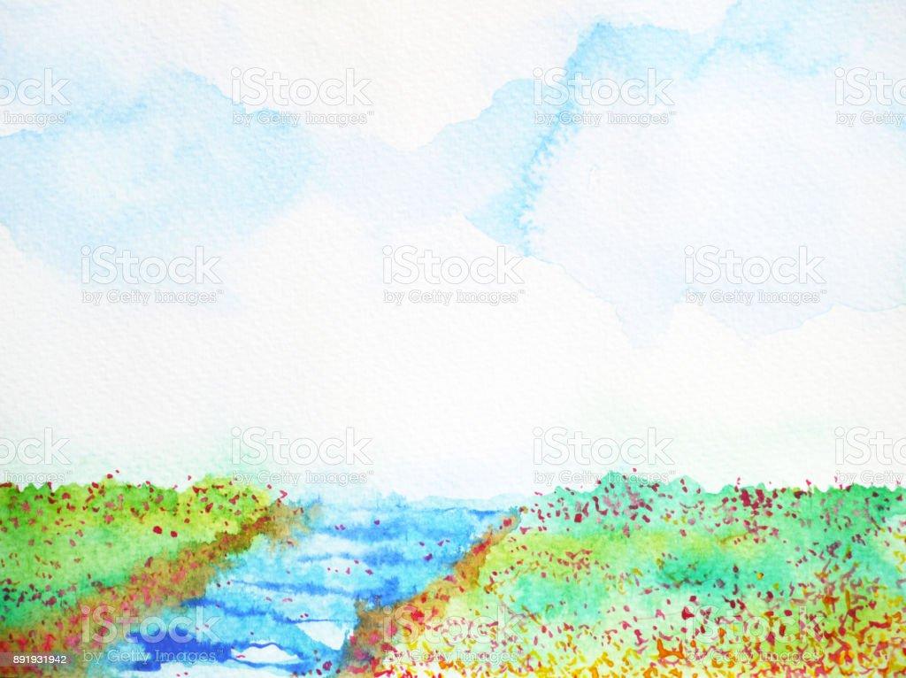 Nehir Ve Cayir Cicek Alan Manzara Suluboya Resim Stok Vektor