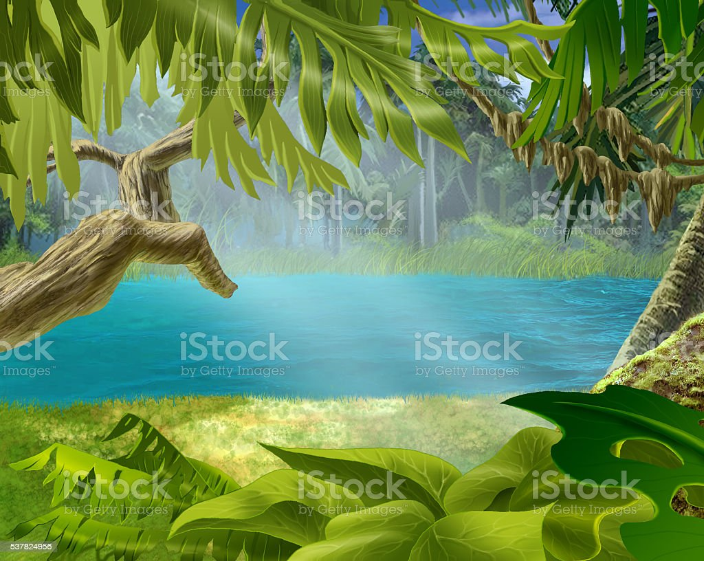 River Bank with Plants in the Tropical Forest vector art illustration