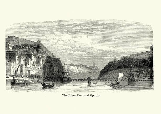 ilustrações de stock, clip art, desenhos animados e ícones de river douro at oporto (porto), portugal, 19th century - douro