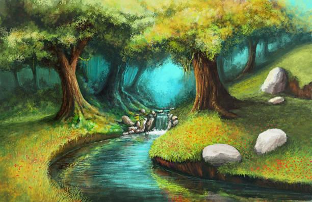 river vector art illustration