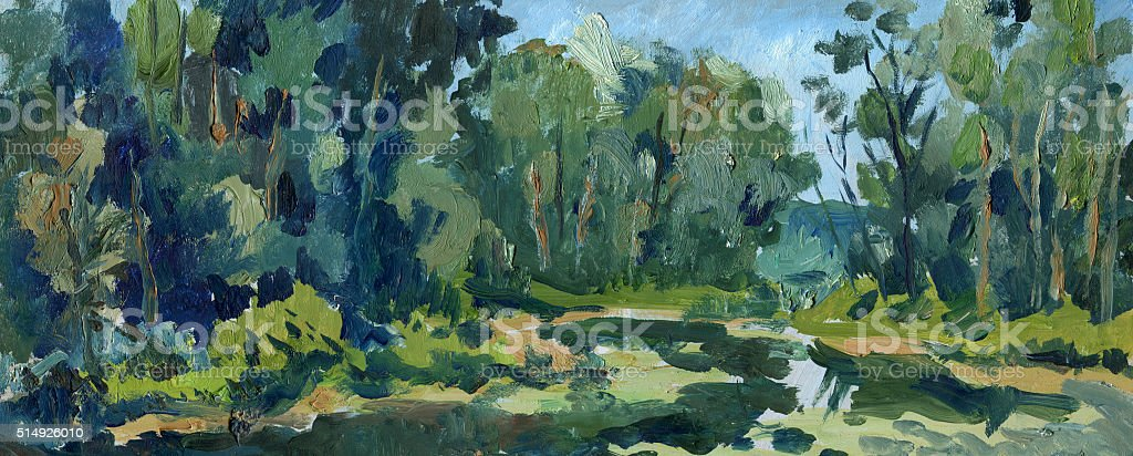 River in the forest painting vector art illustration
