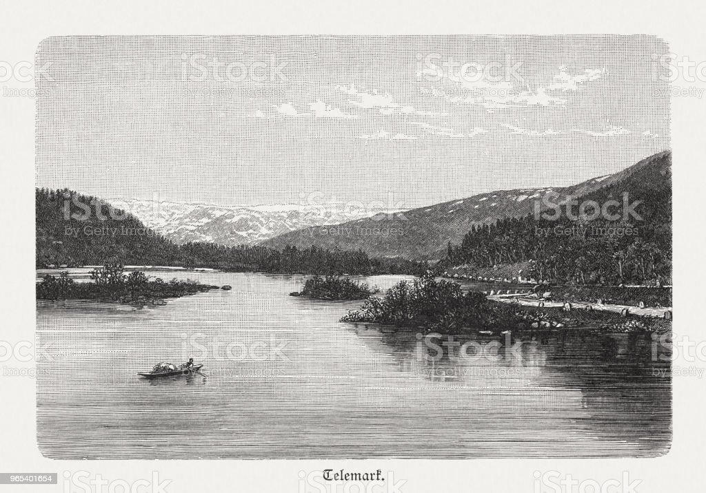 River lake in Telemark, Norway, wood engraving, published in 1897 river lake in telemark norway wood engraving published in 1897 - stockowe grafiki wektorowe i więcej obrazów czarno biały royalty-free