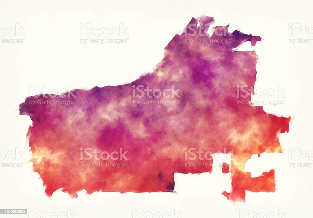 Riverside California City Watercolor Map In Front Of A White ...