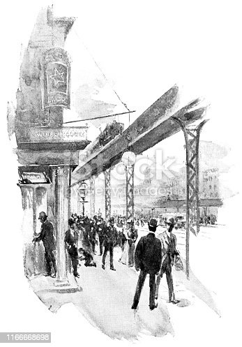 People on Rivington Street in Manhattan of New York City, New York, USA. Vintage etching circa late 19th century.