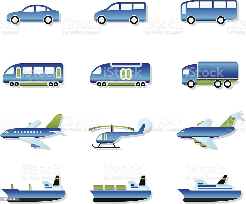 Road, air, rail and water transport royalty-free stock vector art