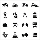 Road construction related icons. All white strokes/shapes are cut from the icons and merged allowing the background to show through.