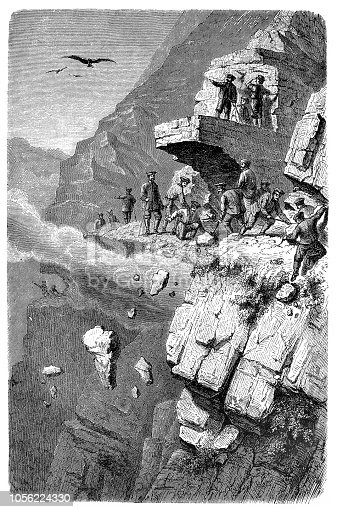 Illustration of a Road construction in the Caucasus
