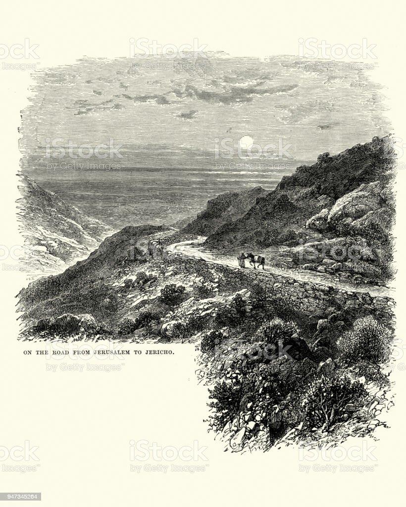 Road from Jerusalem to Jericho, 19th Century vector art illustration