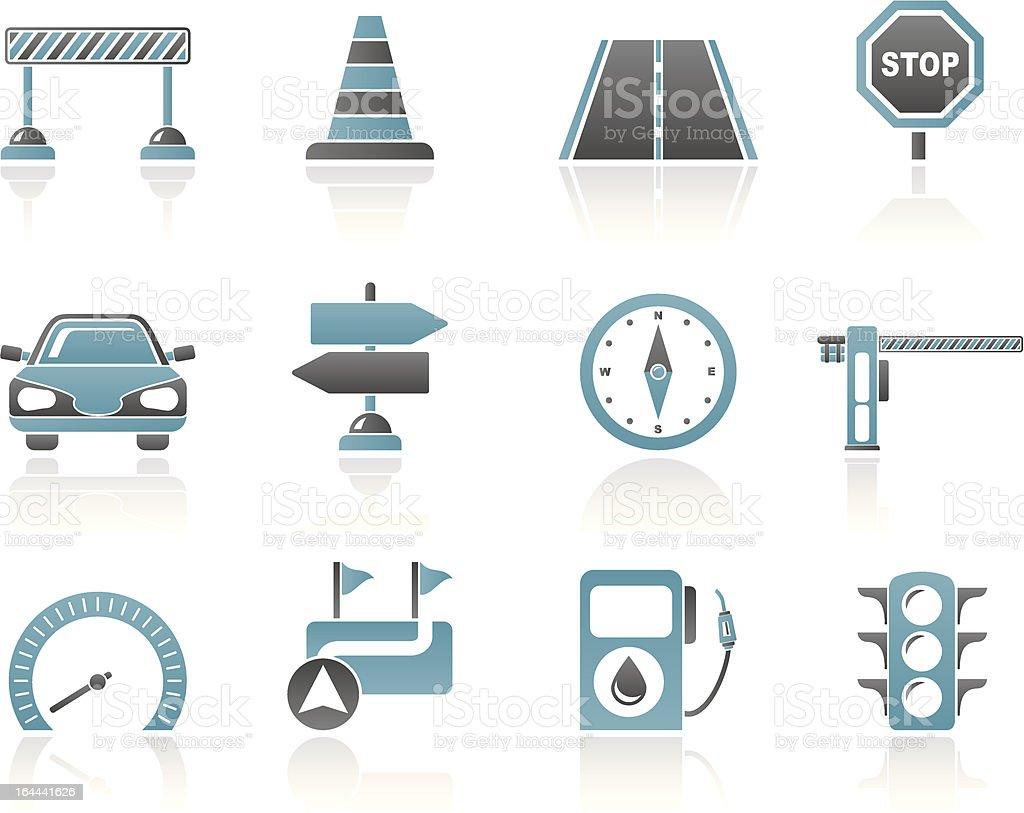 Road, navigation and traffic icons vector art illustration