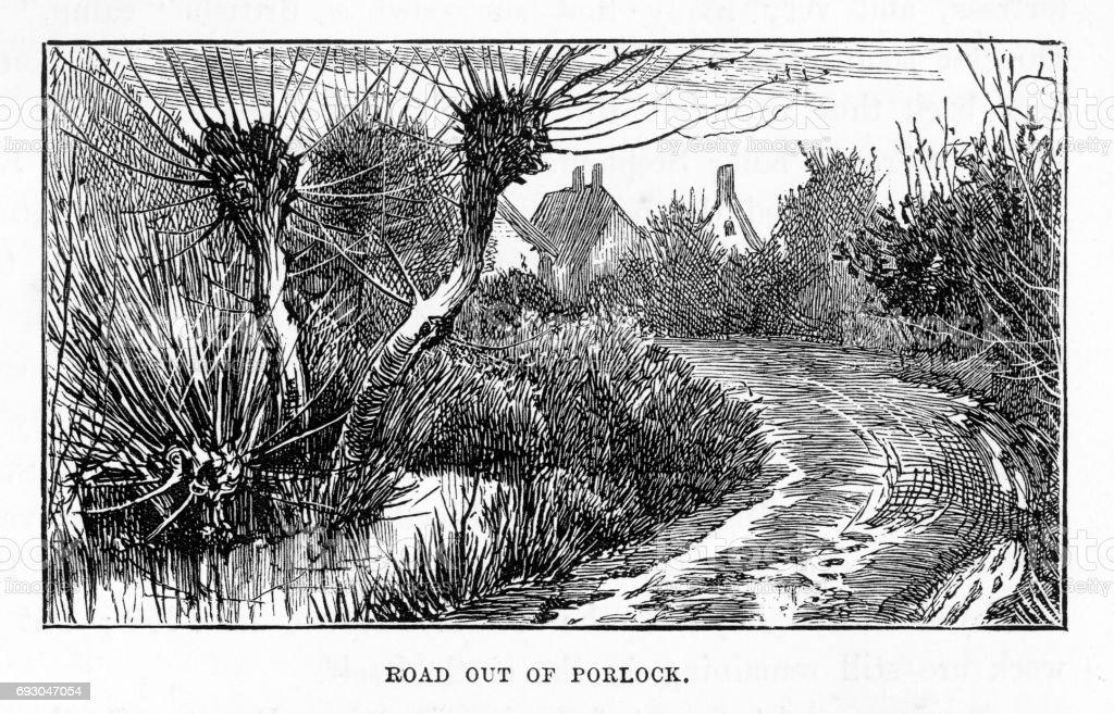 Road Out of Porlock, Exmoor, England Victorian Engraving, 1840 vector art illustration