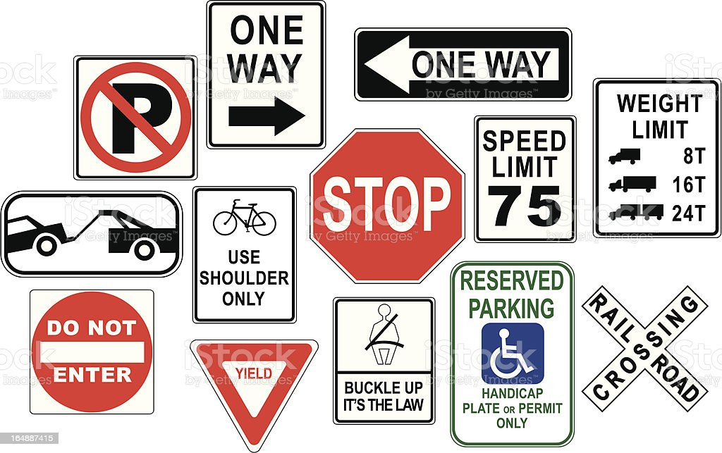 Road sign design elements / icons vector art illustration