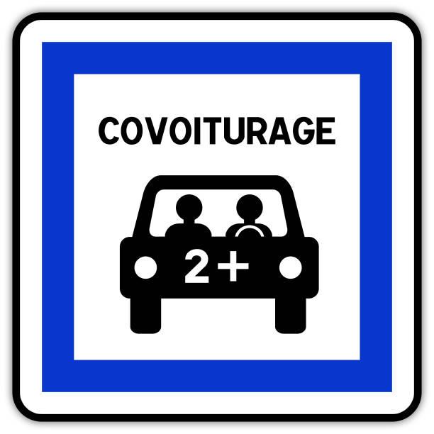 ilustrações de stock, clip art, desenhos animados e ícones de road sign in france: carpool area - carpool parking - carpooling - silhouette peolple illustration