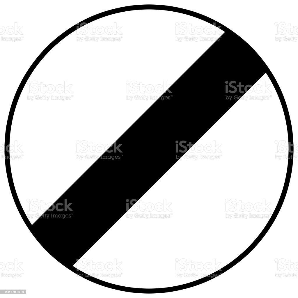Straßenschild In Frankreich Ende Des Verbots Schwarze Linie