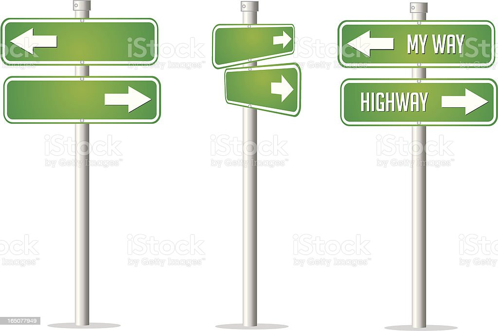 Road Sign Series - My Way or Highway royalty-free stock vector art
