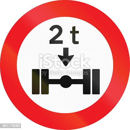 istock Road sign used in Denmark - No vehicles having a weight exceeding 2 tonnes on one axle 831179280