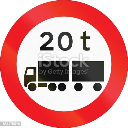 istock Road sign used in Denmark - No vehicles or combination of vehicles exceeding 20 tonnes 831179648