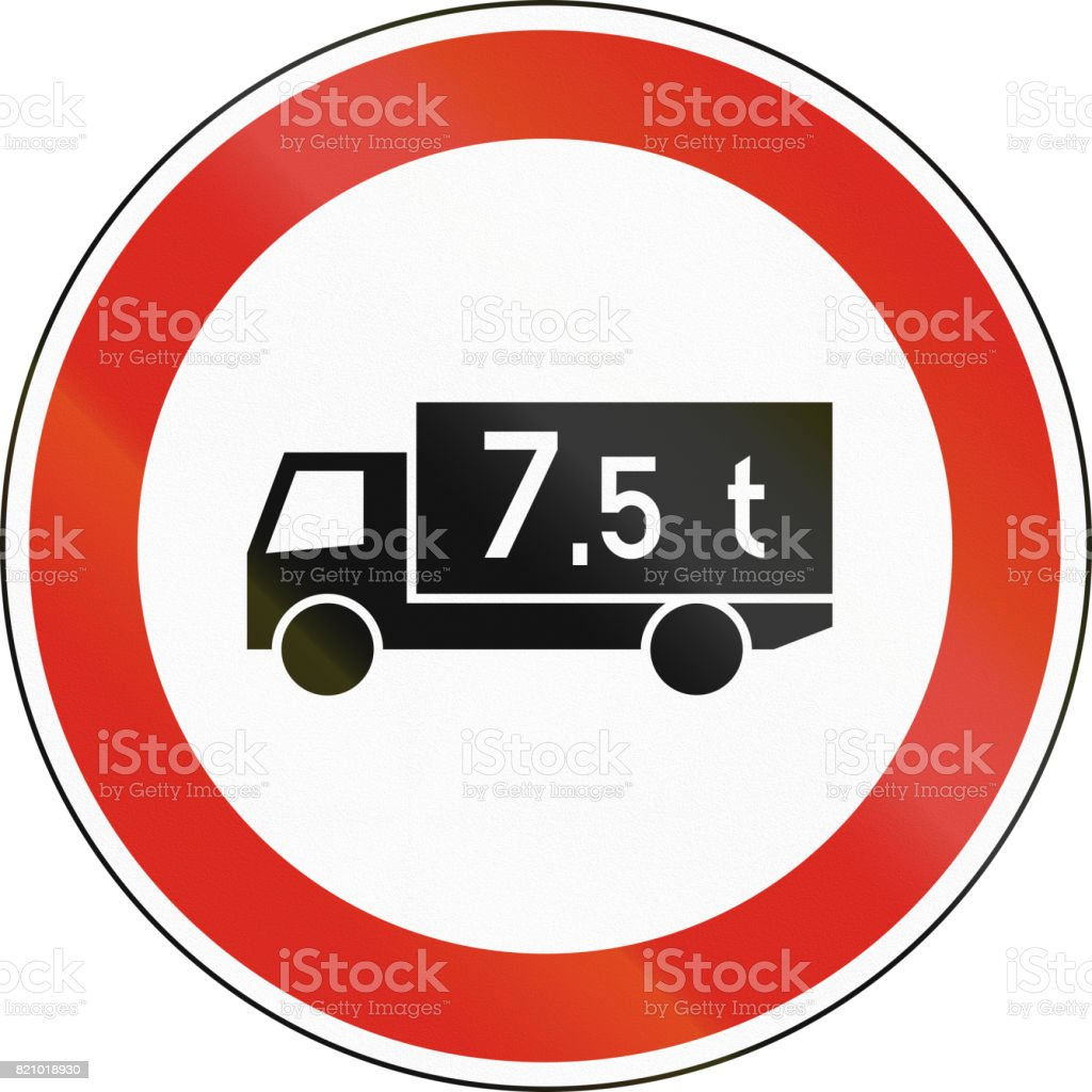 road sign used in hungary no lorries weighing more than 75 tons stock illustration