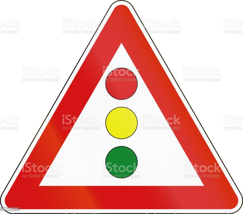 Road sign used in Italy - vertical signal lights ahead royalty-free road sign used in italy vertical signal lights ahead stok vektör sanatı & avrupa'nin daha fazla görseli