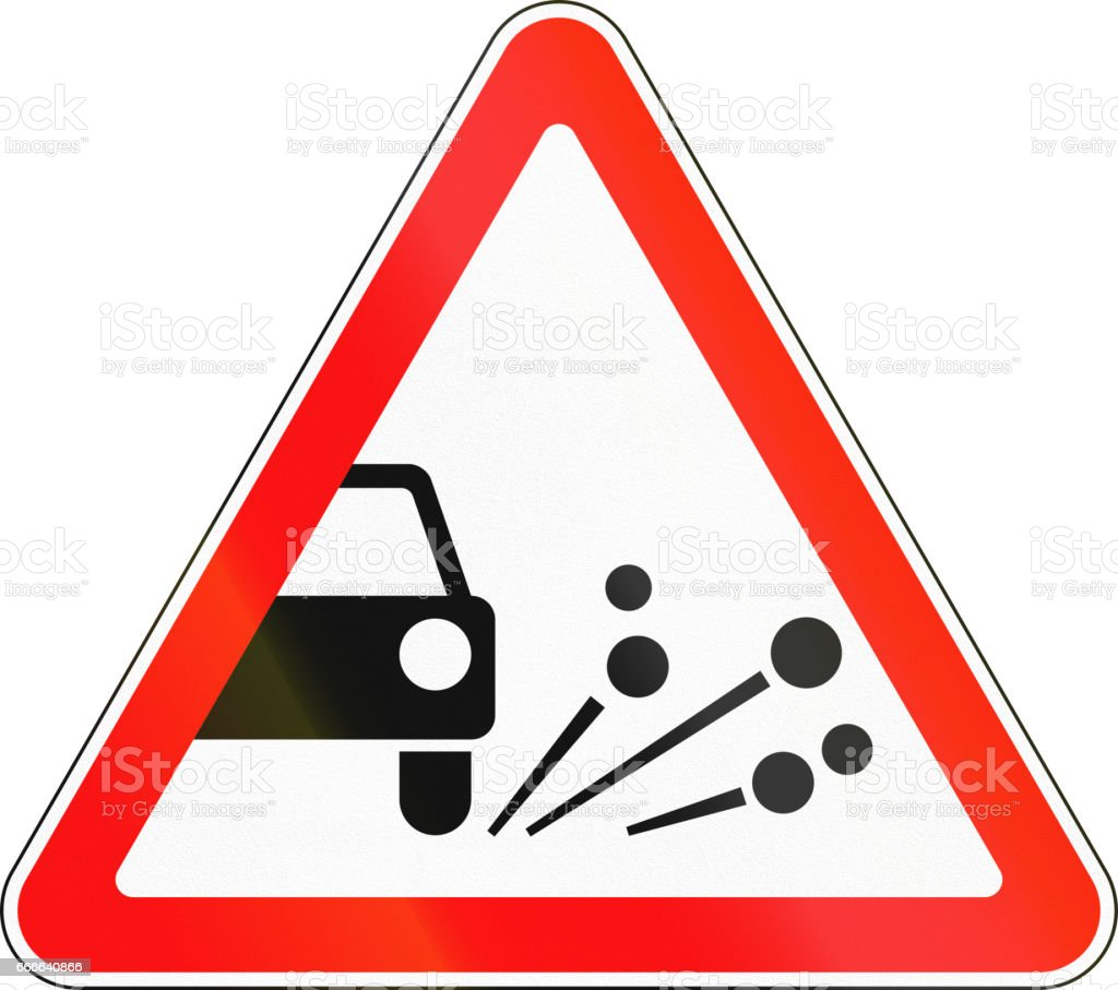 Road sign used in Russia - Loose chippings vector art illustration