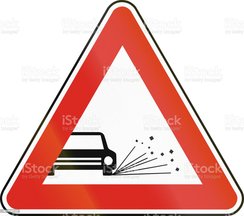 Road sign used in Slovakia - Loose chippings vector art illustration