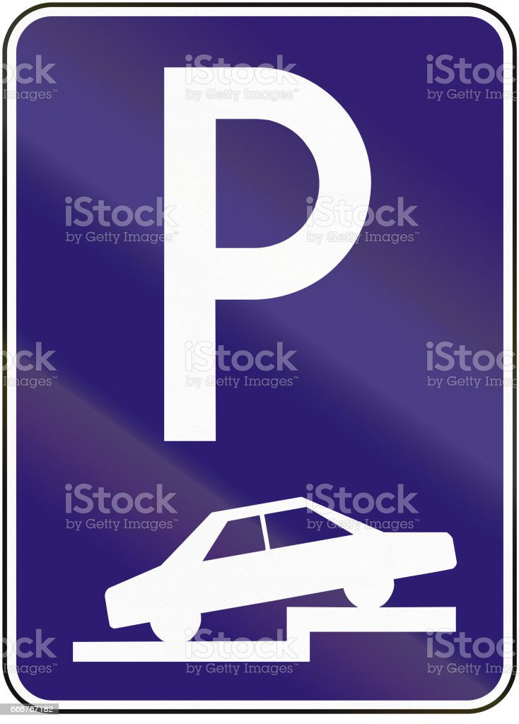Road sign used in Slovakia - Parking perpendicular or diagonal on the pavement road sign used in slovakia parking perpendicular or diagonal on the pavement - immagini vettoriali stock e altre immagini di automobile royalty-free