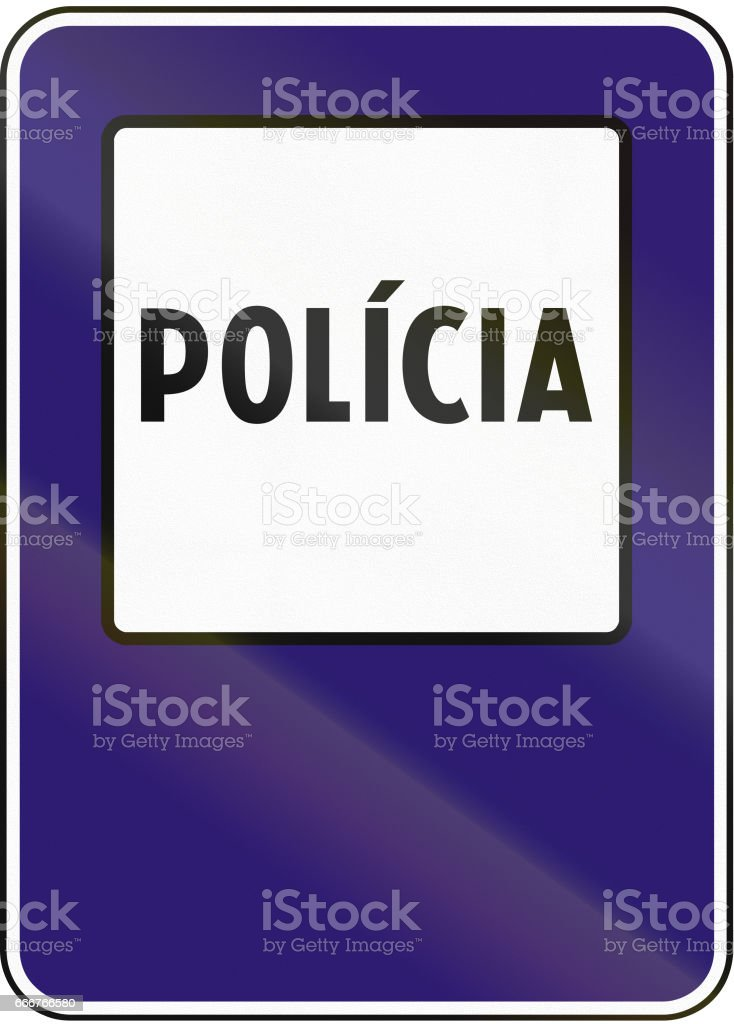 Road sign used in Slovakia - Police road sign used in slovakia police - immagini vettoriali stock e altre immagini di blu royalty-free