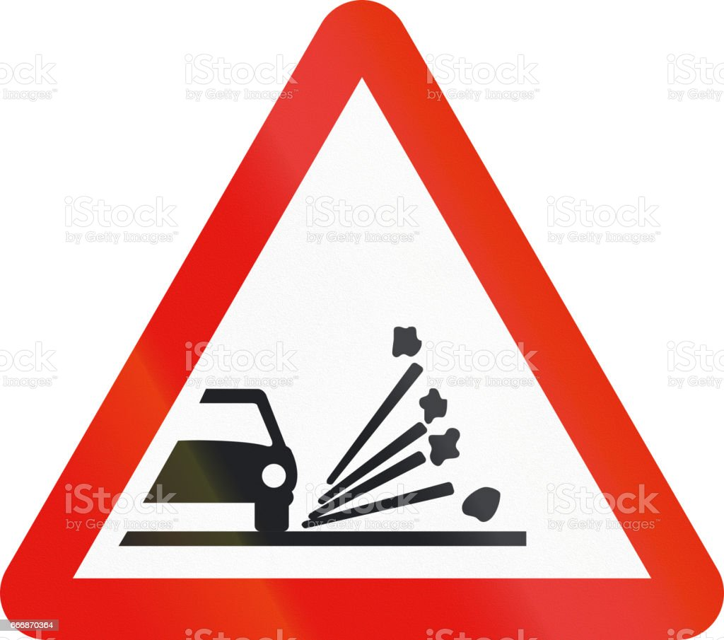 Road sign used in Spain - Loose chippings vector art illustration