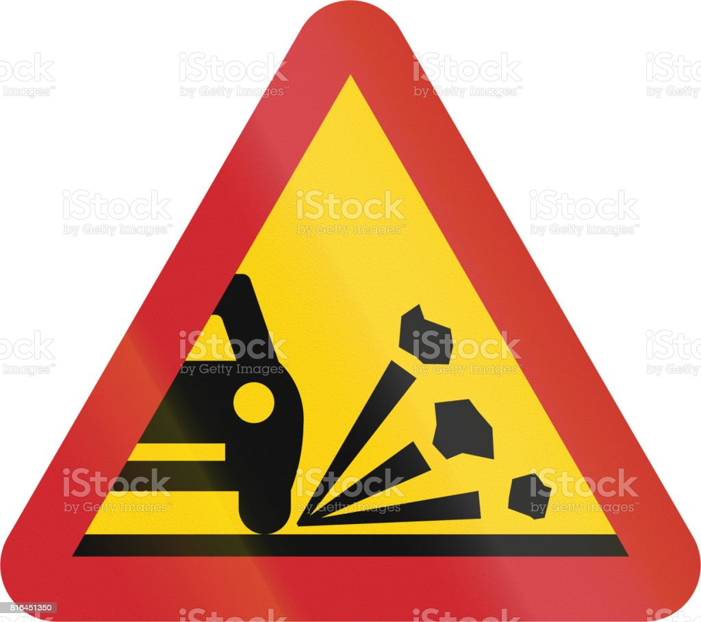 Road sign used in Sweden - Loose chippings vector art illustration