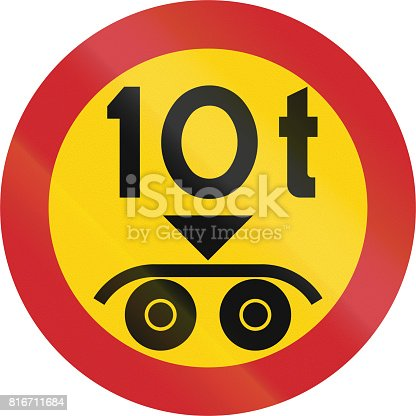 istock Road sign used in Sweden - No vehicles having a weight exceeding 10 tonnes on a tandem axle 816711684
