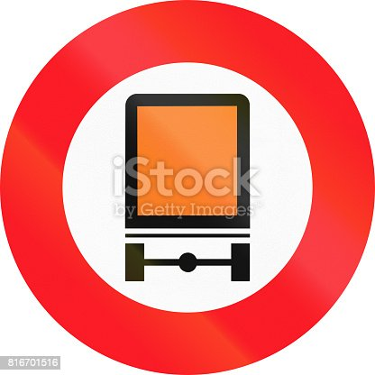 """istock Road sign used in Switzerland - No vehicles carrying <a href=""""https://en.wikipedia.org/wiki/Dangerous_goods"""" title=""""Dangerous goods"""">dangerous goods</a> 816701516"""