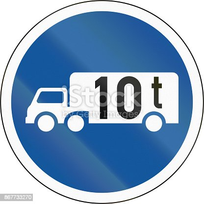 istock Road sign used in the African country of Botswana - Goods vehicles exceeding 10 tonnes 867733270