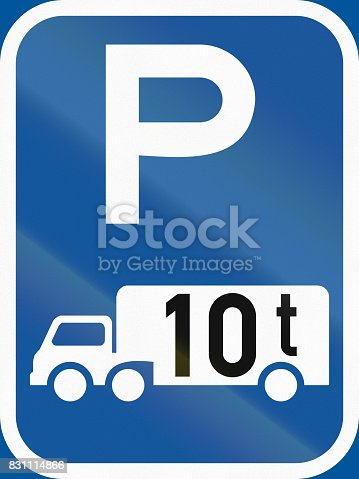 istock Road sign used in the African country of Botswana - Parking for goods vehicles exceeding 10 tonnes GVM 831114866