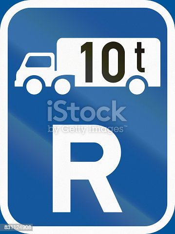 istock Road sign used in the African country of Botswana - Reservation for goods vehicles exceeding 10 tonnes GVM 831124908