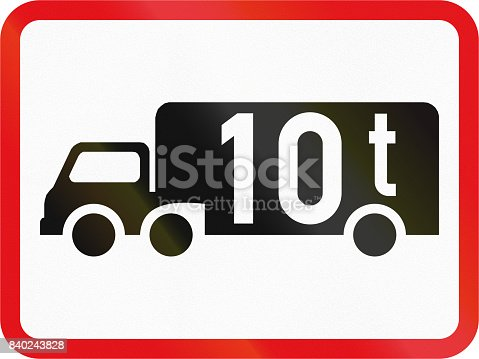 istock Road sign used in the African country of Botswana - The primary sign applies to goods vehicles exceeding 10 tonnes GVM 840243828
